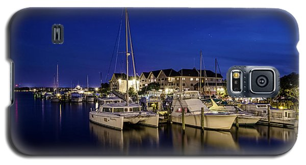 Manteo Waterfront Marina At Night Galaxy S5 Case