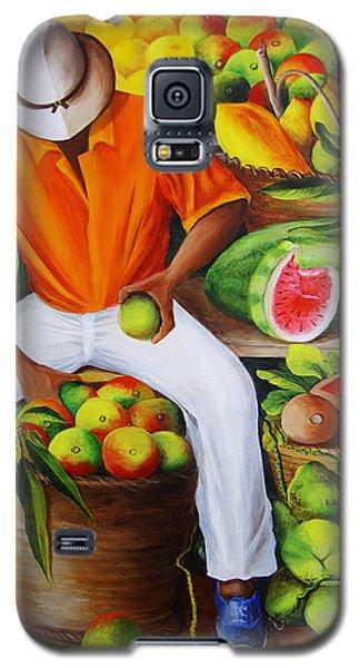Watermelon Galaxy S5 Case - Manuel The Caribbean Fruit Vendor  by Dominica Alcantara