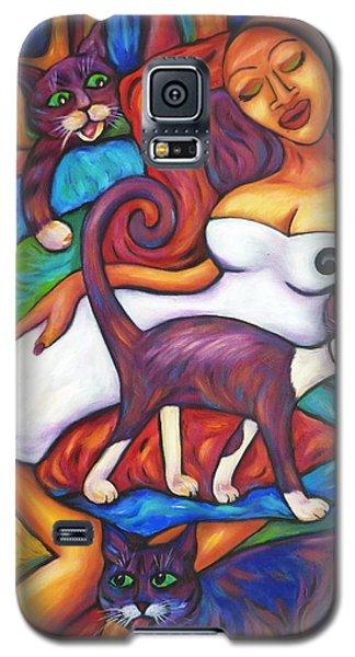 Maori Girl And Three Cats Galaxy S5 Case
