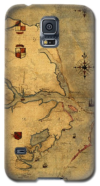 Hawk Galaxy S5 Case - Map Of Outer Banks Vintage Coastal Handrawn Schematic On Parchment Circa 1585 by Design Turnpike