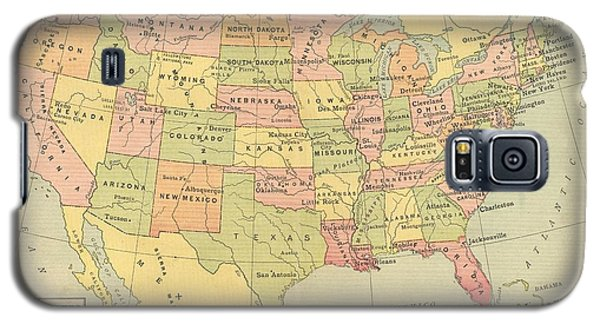 Galaxy S5 Case featuring the digital art Map Usa 1909 by Digital Art Cafe