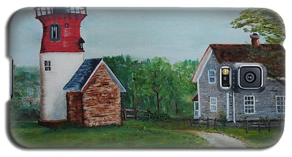 Galaxy S5 Case featuring the painting Marbelhead Lighthouse by Debbie Baker