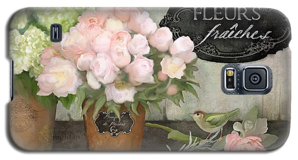 Marche Aux Fleurs 2 - Peonies N Hydrangeas W Bird Galaxy S5 Case by Audrey Jeanne Roberts