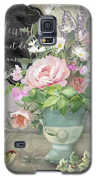 Marche Aux Fleurs 3 Peony Tulips Sweet Peas Lavender And Bird Galaxy S5 Case by Audrey Jeanne Roberts