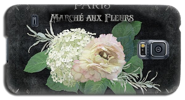 Galaxy S5 Case featuring the painting Marche Aux Fleurs 4 Vintage Style Typography Art by Audrey Jeanne Roberts