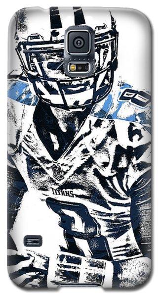 Galaxy S5 Case featuring the mixed media Marcus Mariota Tennessee Titans Pixel Art 3 by Joe Hamilton