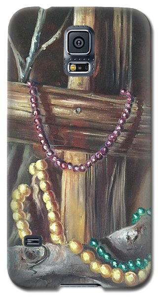 Galaxy S5 Case featuring the painting Mardi Gras Beads And Hurricane Katrina by Randol Burns