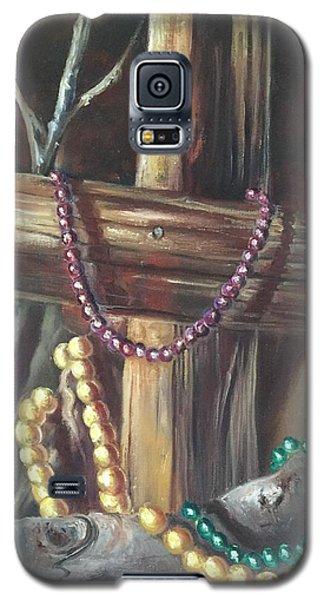 Mardi Gras Beads And Hurricane Katrina Galaxy S5 Case by Randy Burns