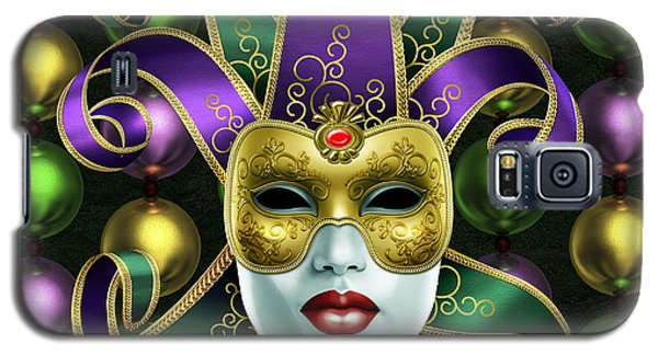 Galaxy S5 Case featuring the photograph Mardi Gras Mask And Beads by Gary Crockett
