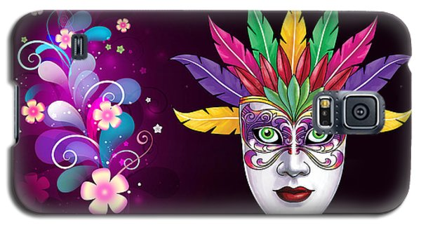 Galaxy S5 Case featuring the photograph Mardi Gras Mask On Floral Background by Gary Crockett