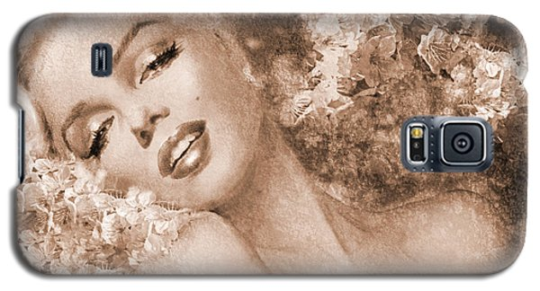 Marilyn Cherry Blossoms, Sepia Galaxy S5 Case