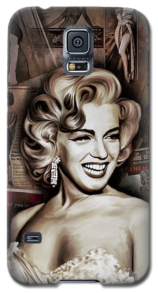 Galaxy S5 Case featuring the painting   Marilyn Monroe 4  by Andrzej Szczerski