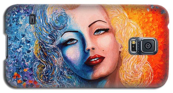 Galaxy S5 Case featuring the painting Marilyn Monroe Original Acrylic Palette Knife Painting by Georgeta Blanaru