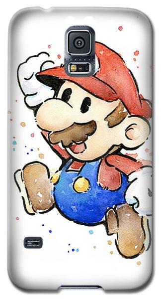 Mario Watercolor Fan Art Galaxy S5 Case by Olga Shvartsur