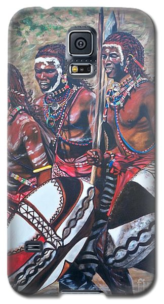 Galaxy S5 Case featuring the painting Masaai Warriors by Sigrid Tune