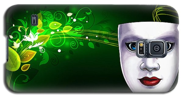 Galaxy S5 Case featuring the photograph Mask Blue Eyes On Green Vines by Gary Crockett
