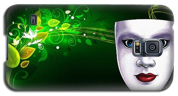 Mask Blue Eyes On Green Vines Galaxy S5 Case by Gary Crockett