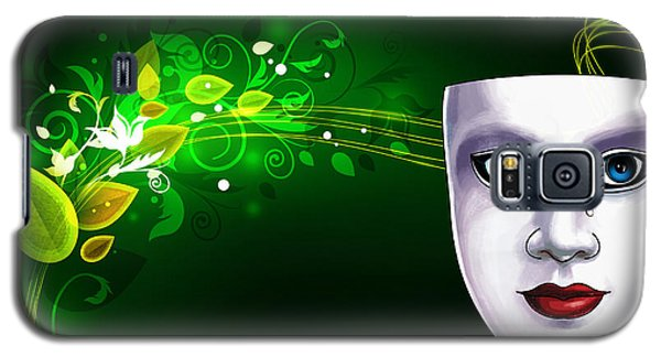 Mask Blue Eyes On Green Vines Galaxy S5 Case