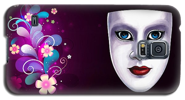 Galaxy S5 Case featuring the photograph Mask With Blue Eyes Floral Design by Gary Crockett