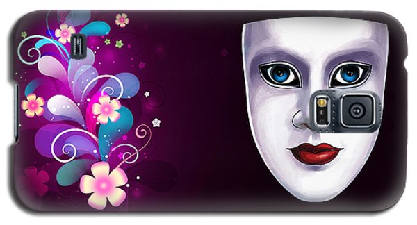 Mask With Blue Eyes Floral Design Galaxy S5 Case by Gary Crockett