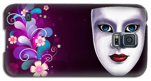 Mask With Blue Eyes Floral Design Galaxy S5 Case