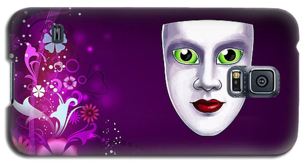 Galaxy S5 Case featuring the photograph Mask With Green Eyes On Pink Floral Background by Gary Crockett