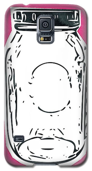 Galaxy S5 Case featuring the mixed media Mason Jar Hot Pink- Art By Linda Woods by Linda Woods