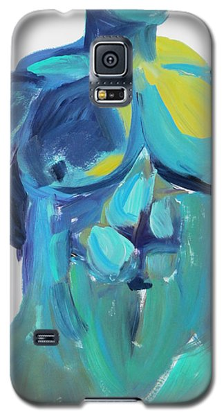 Galaxy S5 Case featuring the painting Massive Hunk Blue-green by Shungaboy X