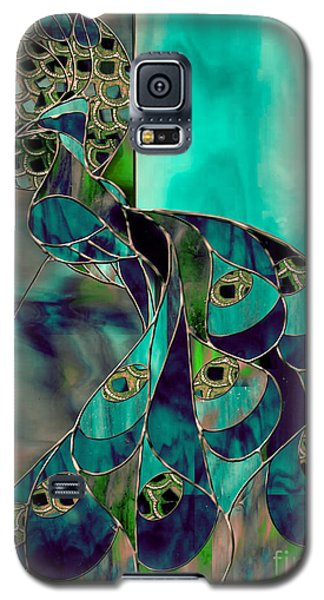 Peacock Galaxy S5 Case - Mating Season Stained Glass Peacock by Mindy Sommers