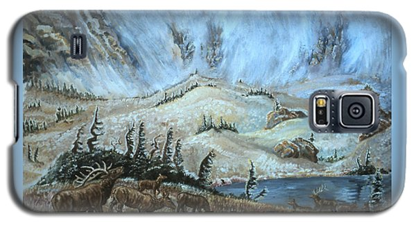 Galaxy S5 Case featuring the painting Medicine Bow Peak In Clouds With Elk by Dawn Senior-Trask