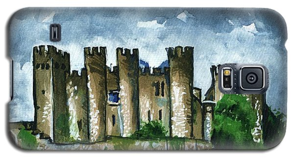 Galaxy S5 Case featuring the painting Medieval Castle Before Storm by Dora Hathazi Mendes