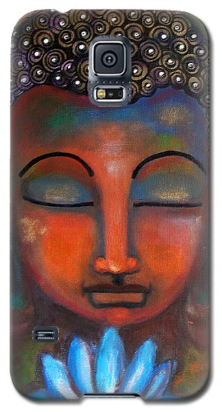 Galaxy S5 Case featuring the painting Meditating Buddha With A Blue Lotus by Prerna Poojara