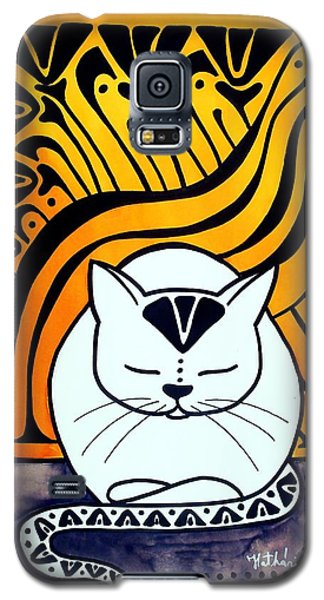 Galaxy S5 Case featuring the painting Meditation - Cat Art By Dora Hathazi Mendes by Dora Hathazi Mendes