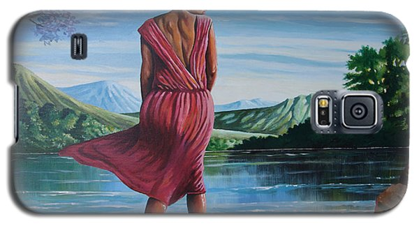 Galaxy S5 Case featuring the painting Meet Me At The River by Anthony Mwangi