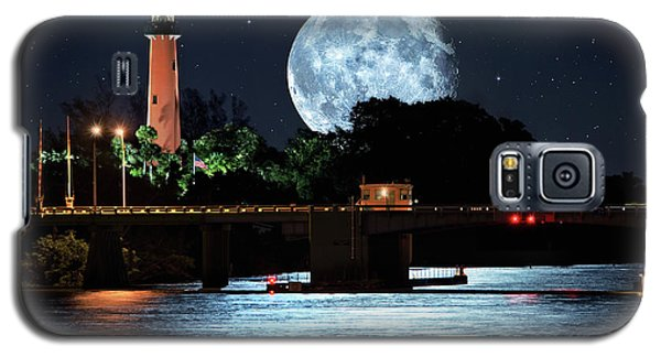 Mega Super Moon Rising Over Jupiter Lighthouse Galaxy S5 Case