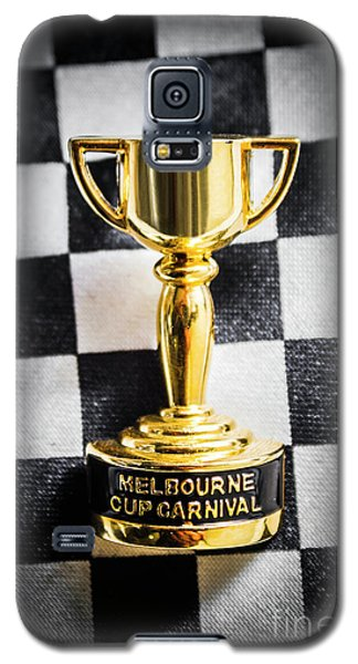White Horse Galaxy S5 Case - Melbourne Cup Pin On Mens Chequered Fashion Tie by Jorgo Photography - Wall Art Gallery