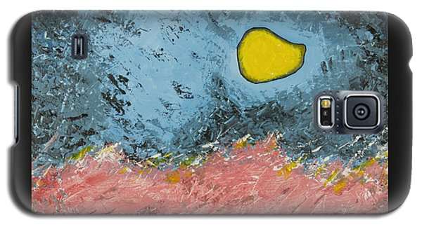 Galaxy S5 Case featuring the painting Melting Moon Over Drifting Sand Dunes by Ben Gertsberg