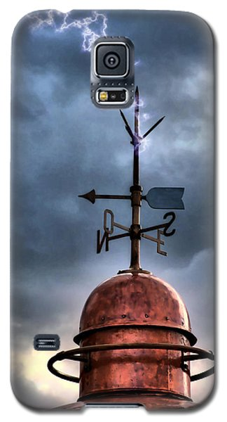 Menorca Copper Lighthouse Dome With Lightning Rod Under A Bluish And Stormy Sky And Lightning Effect Galaxy S5 Case by Pedro Cardona