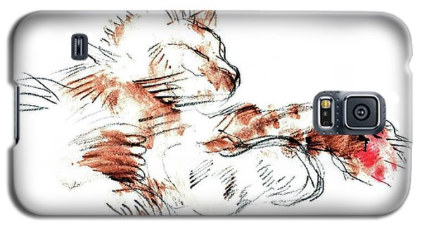 Galaxy S5 Case featuring the mixed media Merph Chillin' - Pet Portrait by Carolyn Weltman