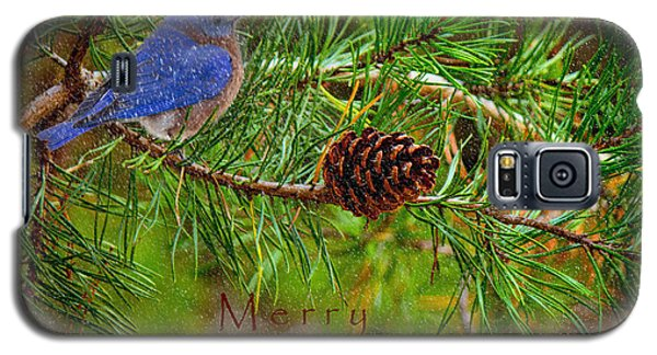 Merry Christmas Card With Bluebird Galaxy S5 Case