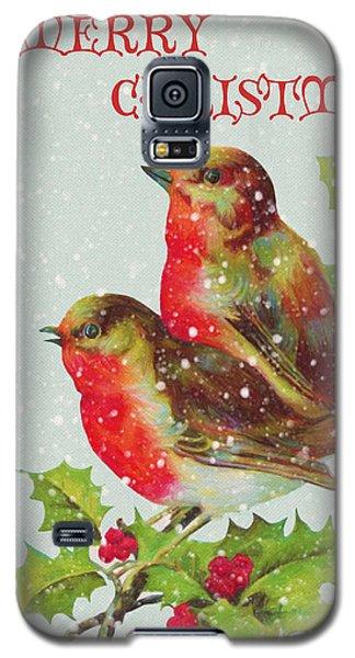 Merry Christmas Snowy Bird Couple Galaxy S5 Case by Sandi OReilly