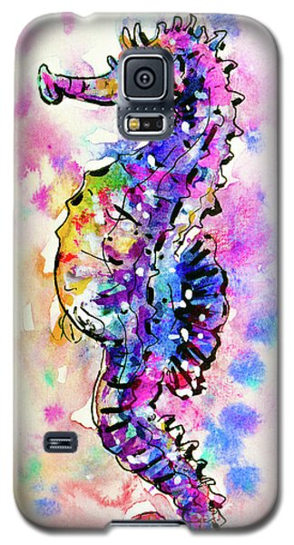 Galaxy S5 Case featuring the painting Merry Seahorse by Zaira Dzhaubaeva