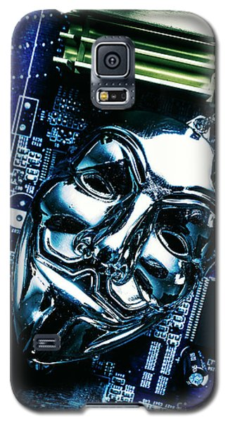 Metal Anonymous Mask On Motherboard Galaxy S5 Case by Jorgo Photography - Wall Art Gallery