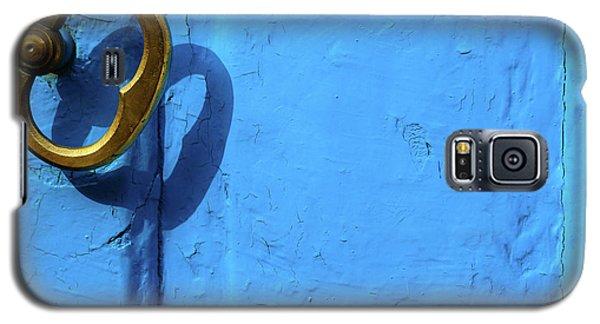 Galaxy S5 Case featuring the photograph Metal Knob Blue Door by Prakash Ghai