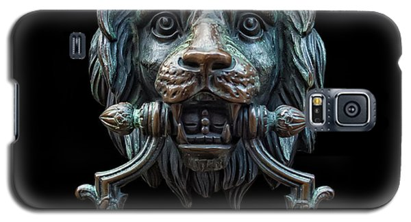 Galaxy S5 Case featuring the photograph Metal Lion Head Doorknocker Isolated Black by Antony McAulay