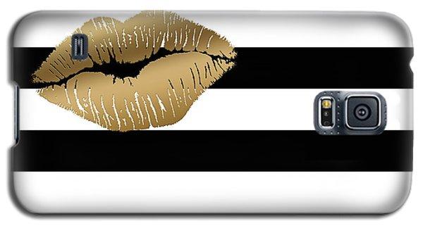 Metallic Gold Lips Black And White Stripes Galaxy S5 Case by Georgeta Blanaru