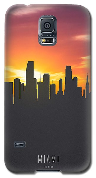 Miami Florida Sunset Skyline 01 Galaxy S5 Case by Aged Pixel