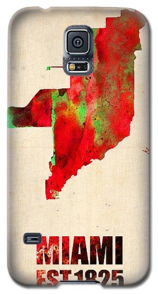 Miami Galaxy S5 Case - Miami Watercolor Map by Naxart Studio