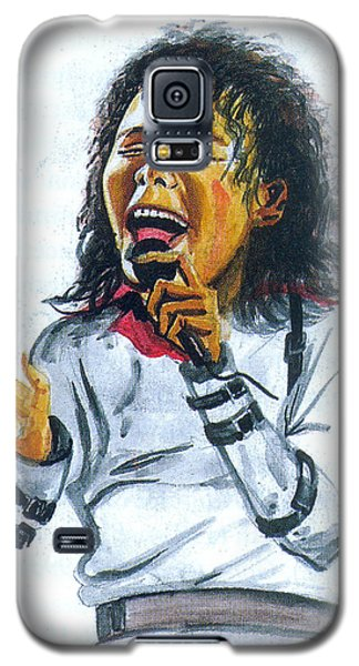 Galaxy S5 Case featuring the painting Michael Jackson by Emmanuel Baliyanga