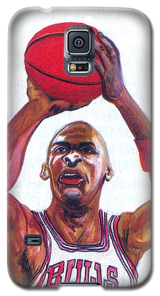 Galaxy S5 Case featuring the painting Michael Jordan by Emmanuel Baliyanga